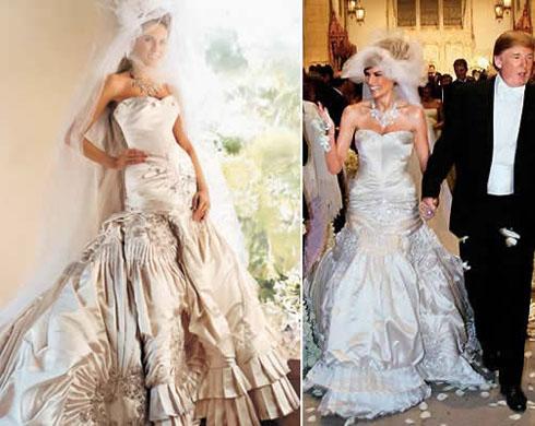 pics photos donald trump wife melania wedding dress